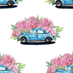 watercolor pattern with a retro car and flowers