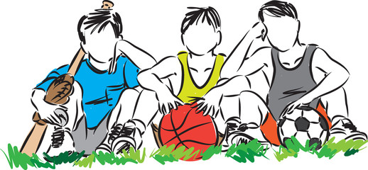 children sports vector illustration