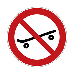 skateboarding forbidden sign - no skateboard sign   - vector illustration