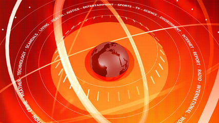 Graphical News Red Digital Background. Orbits Around The Globe