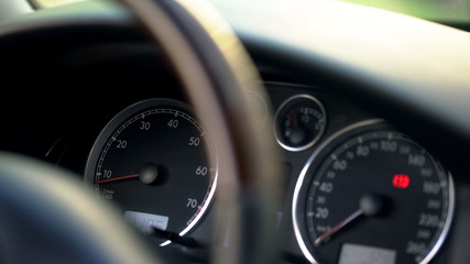 Modern car dashboard and steering wheel closeup, vehicle and transportation