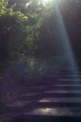 ray of sun on steps
