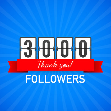 3000 followers, Thank You,  social sites post. Thank you followers congratulation card. Vector illustration.