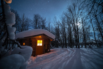 Illuminated log cabin in forest at night during winter