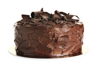Tasty homemade chocolate cake on white background