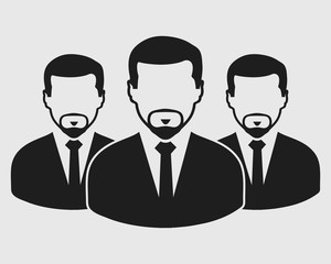 Business Team Icon. Employees behind the leader. Flat style vector EPS.