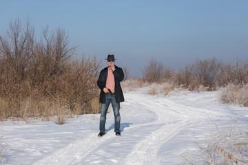 crime man with gun outdoors, winter