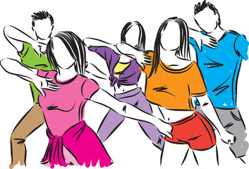 group of dancing people vector illustration