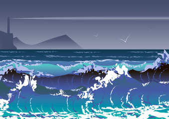 illustration with sea storm and lighthouse. Sea waves and stormy sky