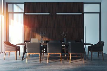 Bright modern conference room interior. 3d rendering.