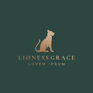 Lioness Grace Abstract Vector Sign, Emblem or Logo Template. Gracefull Sitting Lion Silhouette with Retro Typography. Vintage Premium Label.