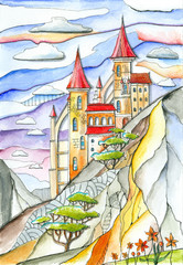 Fantasy castle with red roofs in mountains. Bright hand drawn image. Colorful fairy landscape with rocks, building, trees and clouds in sky.
