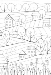 Rural landscape with houses, trees and fields. Black and white hand drawn illustration. Coloring book.