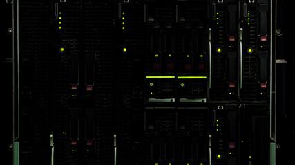 Database server storage with lights, technological innovation, web hosting