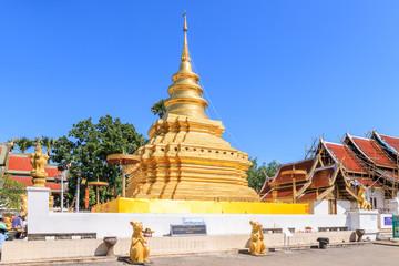 Chiang Mai, Thailand - November 16, 2018: Golden buddha relic pagoda at Wat Phra That Si Chom Thong Worawihan