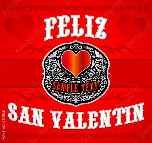 Feliz San Valentin Happy Valentines Spanish Text Cowboy Western