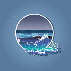 Illustration of the big waves in white frame. Sea storm