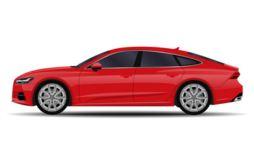 realistic car. sport sedan. side view.