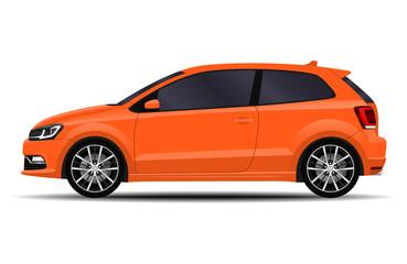Foto op Canvas Cartoon cars realistic car. hatchback. side view.