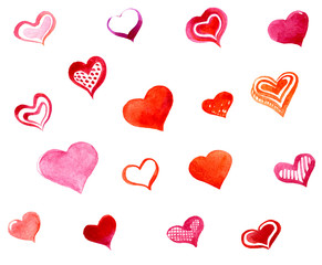 Hand drawing watercolor. Set of hearts isolated on white background.