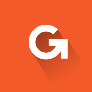 G letter. White letter G with arrow. Delivery or logistic icon.