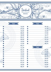 Vector seafood restaurant menu design template. cafe logo and list of dishes with sketch underwater animals delicacy pattern. Marine composition with monochrome seabass, tuna, flatfish and trout