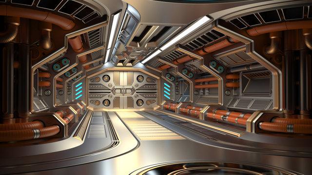 Sci-Fi space station corridor or futuristic spaceship interior. 3d illustration