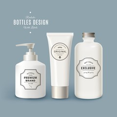 Vector Set of White Realistic Plastic Bottles with Vintage Labels. Product Packaging Design. Plastic Container Mock Up