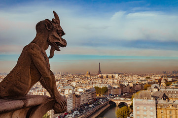 Chimera of Notre Dame de Paris over the city