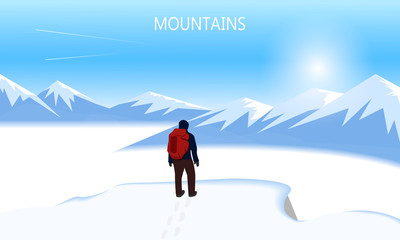 Flat vector banner on the theme of Climbing, Trekking, Hiking, Mountaineering. Extreme sports, outdoor recreation, adventure in the mountains, vacation. Achievement. The Alps.