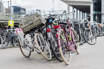 Bicycle parked at bicycle rack