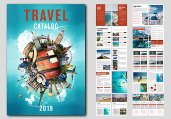 Travel Catalog Layout with Red Accents