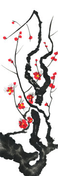 A branch of a blossoming sakura. Pink and red stylized flowers of plum mei and  wild cherry . Watercolor and ink illustration of tree in style sumi-e, go-hua,  u-sin. Oriental traditional painting. .
