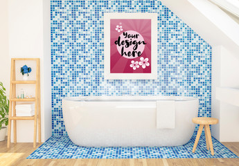 Vertical Frame on Blue Bathroom Wall Mockup