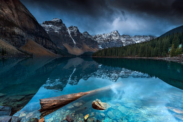 Scenic view of Moraine Lake against cloudy sky