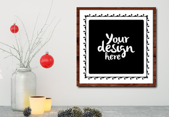 Square Canvas near Holiday Decorations Mockup