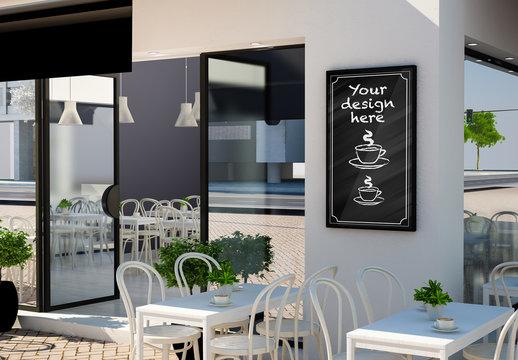 Sign on Cafe Exterior Mockup