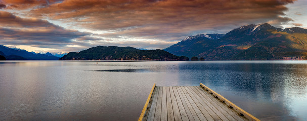 Boat Dock on Harrison Lake at Sunset. Harrison Lake is the largest lake in the southern Coast...