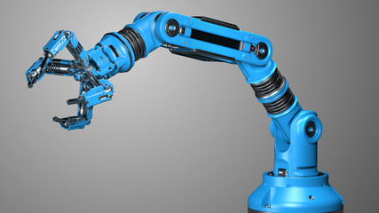 Robotic arm. Blue mechanical hand. Industrial robot manipulator. Futuristic industrial technology. Isolated on grey background. 3D illustration