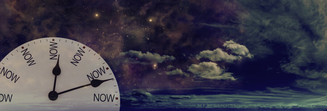 Time is only ever NOW day or night - white clock face with NOW replacing the numerals against a cloudy dark night sky background