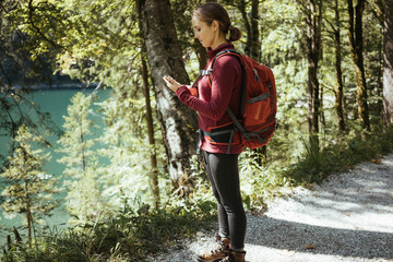 Side view of woman using mobile phone while standing amidst trees in forest during sunny day