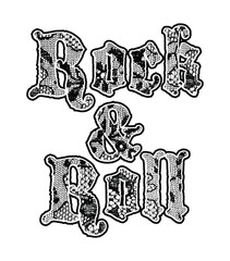 Rock print with metal studs in vector.