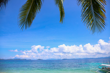 Coco palm leaf and blue sea landscape with fishing boat. Green palm leaf island view. Tropical seascape exotic vacation