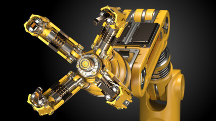 Robotic arm. Yellow mechanical hand. Industrial robot manipulator. Futuristic industrial technology. Isolated on black background. 3D Render