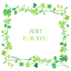Clover ornament frame leaves Patricks Day holiday postcard watercolor green
