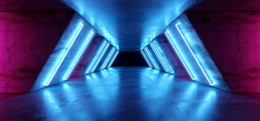 Futuristic Sci Fi Modern Realistic Neon Glowing Purple Pink Blue Led Laser Light Tubes In Grunge Rough Concrete Reflective Dark Empty Tunnel Corridor Background 3D Rendering