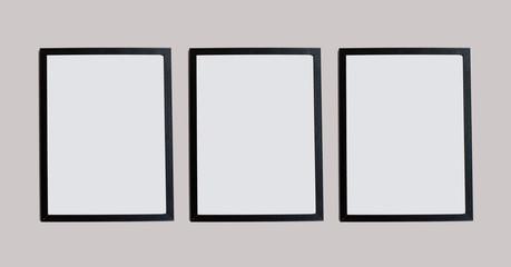 Three black photo frames on wall, exhibition template, retro style decor mock up