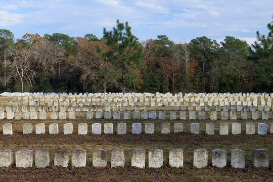 Grave markers at the National Cemetery at the Andersonville National Historic Site in Andersonville, Georgia
