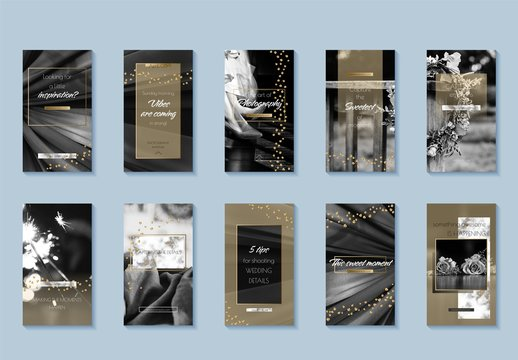 Social Media Story Layouts with Gold and Marble Accents