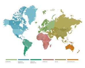 World map with continent in different color
